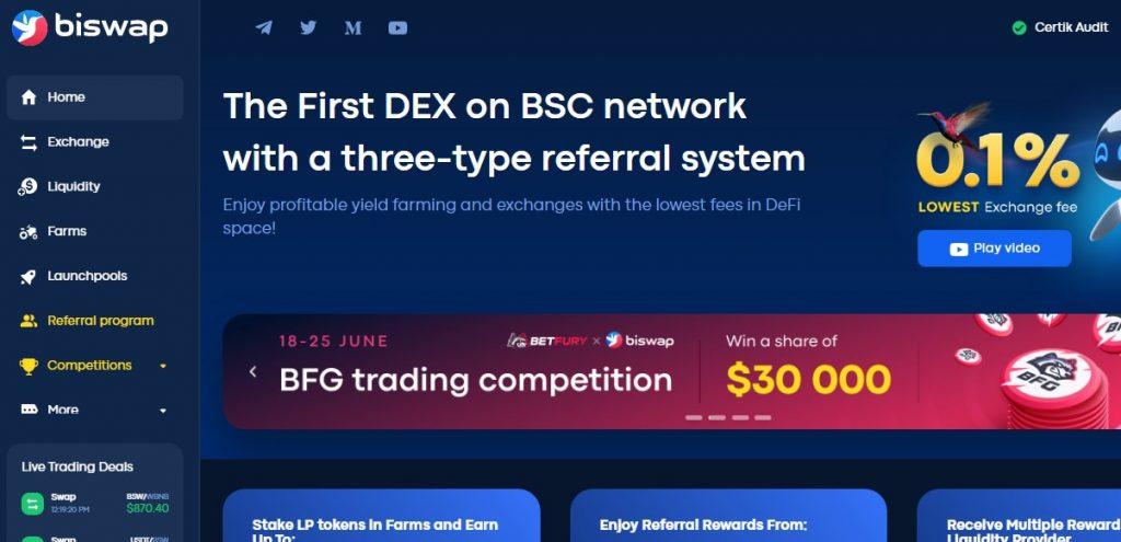 Обзор DeFi-биржи BISWAP